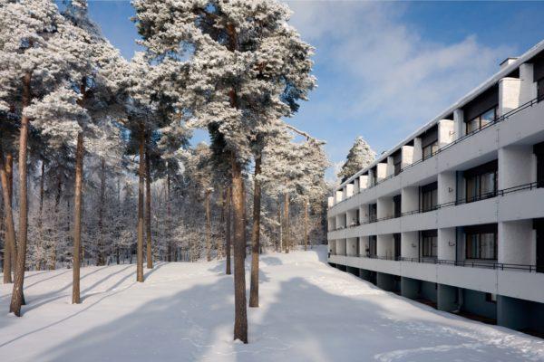 Sunila house Runkola and pine trees in winter photo Rurik Wasastjerna