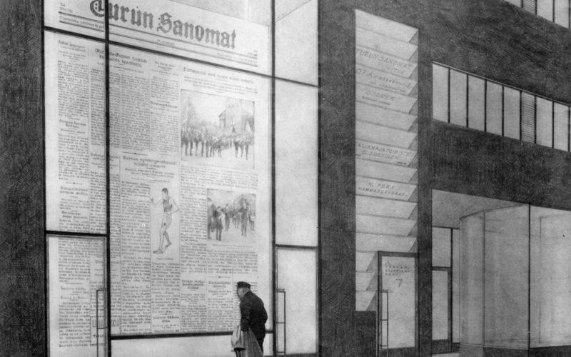 Turun-Sanomien-toimitalo-1928-1930-piirustus-alvar-aalto-museo
