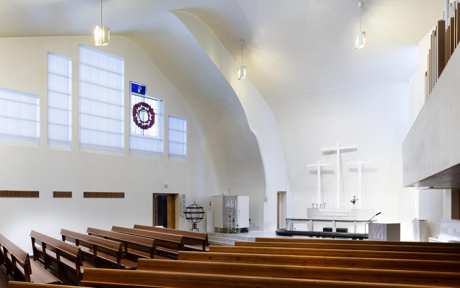 Kolmen Ristin kirkko (1956-58), Vuoksenniska, Imatra, Kuva Pinja Eerola, Alvar Aalto -museo