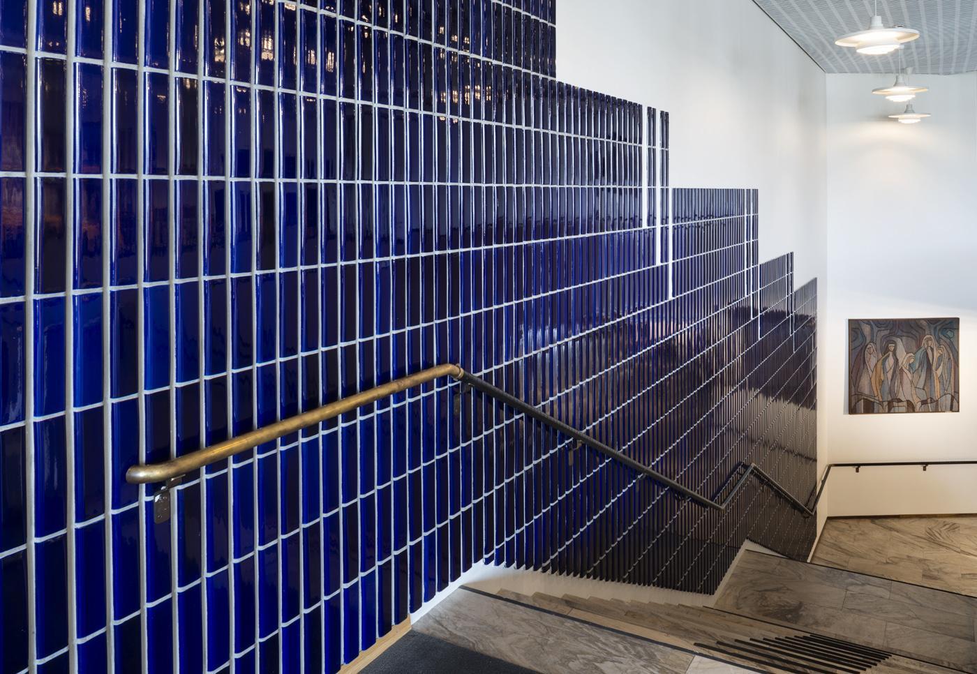 Lappia Hall, cobalt blue ceramic tiles